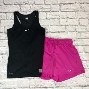 Nike Shorts & Tank top set. Pink/black S/XS